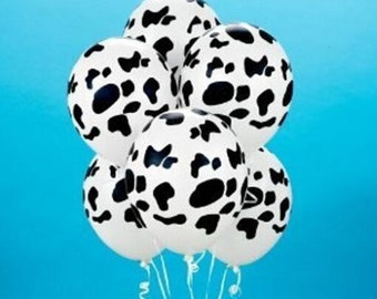 "11"" Cow Print  Balloons, Set of 10 Latex Balloons,Farm Party Dairy Birthday Party Decor Prop ""Same Day Shipping"""