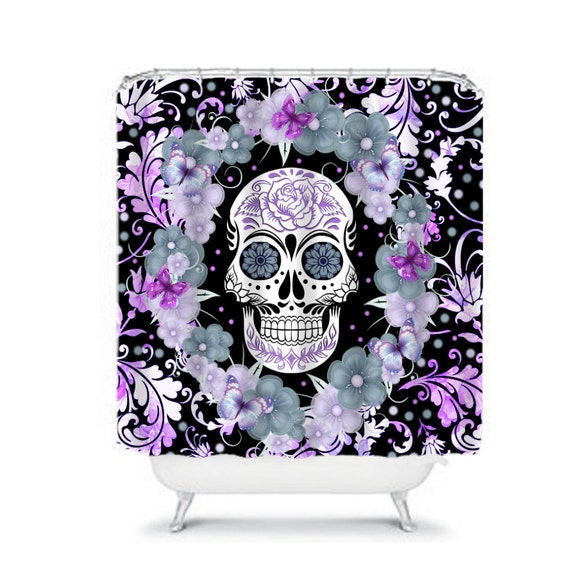 sugar skull shower curtain lavender garden floral by folkandfunky. Black Bedroom Furniture Sets. Home Design Ideas
