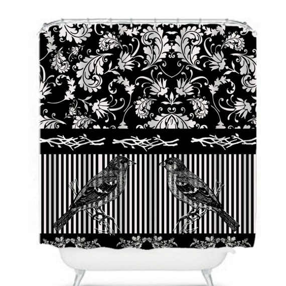 Items Similar To Black And White Shower Curtain Floral Stripes Birds On Etsy