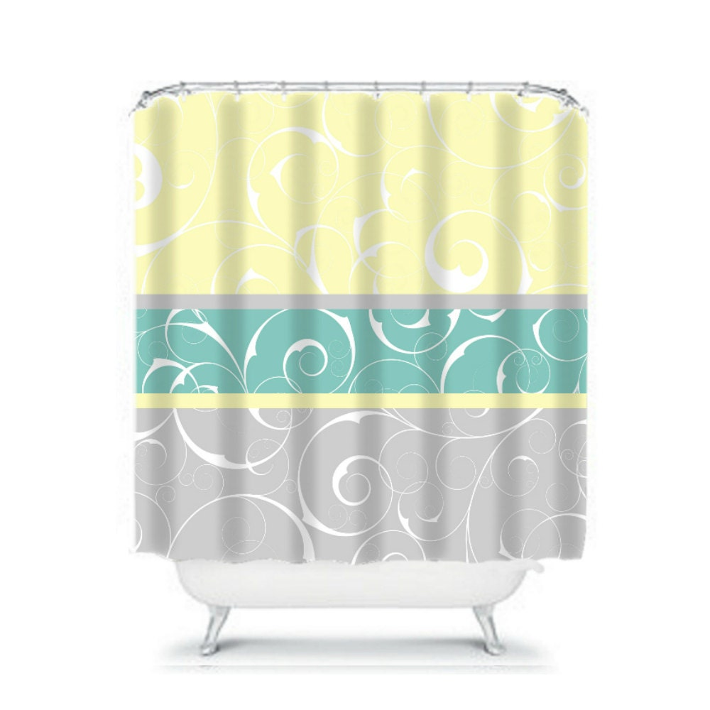 Shower Curtain Elegant Swirls Gray Yellow And Aqua By FolkandFunky
