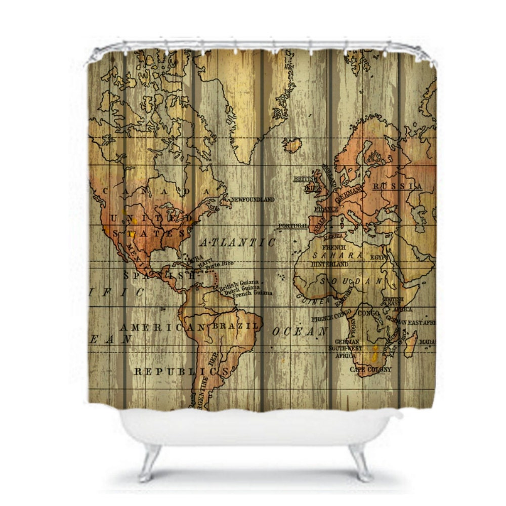 World Map Shower Curtain Grunge Primitive Weathered Wood