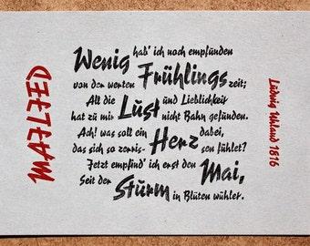 Postcard «Mailied» (Ludwig Uhland) letterpress, lead-type on grey cardboard