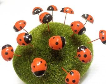 Miniature Dollhouse FAIRY GARDEN Accessories 20 Tiny Orange Color Ladybug