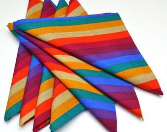 Napkins Colorful Striped Pattern Set of 7