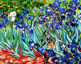 """40%OFF//NEEDLEPOINT CANVAS.//*""""Les Iris"""" By Royal de Paris.A Canvas Reproduction of Van Gogh Painting.//Was (225.00 Dollars) Now!!"""