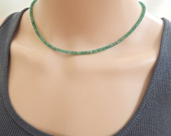 Pure Columbian Emerald Necklace, Undyed and Untreated