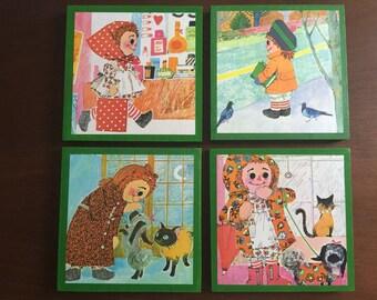 Raggedy Ann Vintage Book Panels! Set of 4.