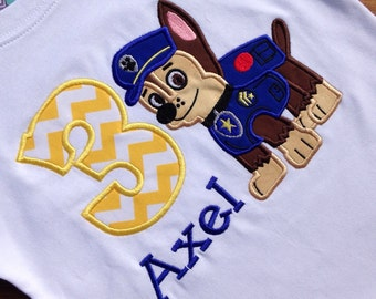 Paw Patrol Birthday Shirt, Paw Patrol Birthday, Chase birthday Shirt, Boy Birthday Shirt, Paw Patrol Party, Personalized Paw Patrol Shirt