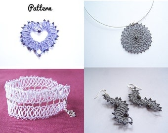 4 tatting patterns for tatted jewelry and 2 tutorials for tatting shuttle - interlaced ring - needle tatting pattern shuttle tatting pattern