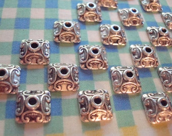 26 Supurb Antiqued Silver Square Pagoda Style Beadcaps. 10x4mm. Amazing Quality Detail  ~ USPS Ship Rates from Oregon
