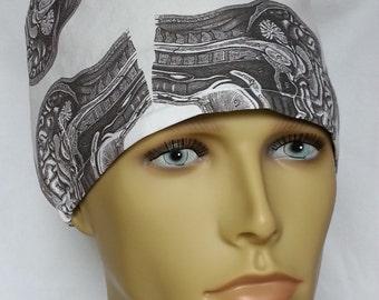 brains anatomy grey matter surgical scrub hat theatre cap cordlock