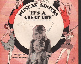 "Musical Score for ""I'm Following You"", MGM production of ""It's A Great Life"" with the Duncan Sisters, 1929, Irving Berlin Pub,"