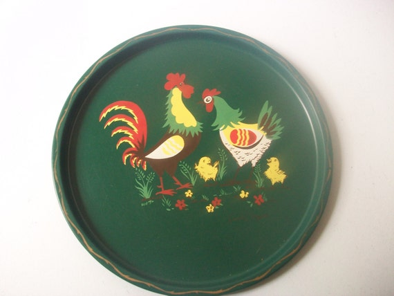 Rooster hen metal serving tray vintage family affair round for Baby tray decoration