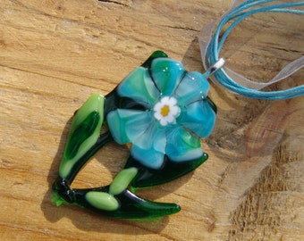 Droplets of dew. Fused Glass Pendant.Summer. Flowers.Flowers Pendant.Nature.Green pendant