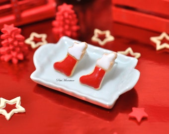 Earrings Christmas Stocking Cookie Studs / Post Earrings - Christmas
