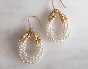 4-Tier Petite Drop Pearl Earring, K14gf Hook
