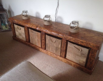 Handmade rustic storage/ t.v unit/ side table