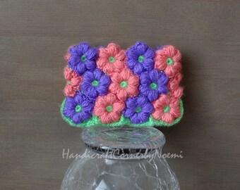 READY TO SHIP Mollie flower crochet coin purse