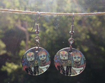 Dia de los Muertos — Day of the Dead — Earrings Both Silver Dangle and Long Silver Wire