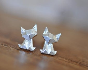 Sterling Silver Origami Cat / Fox Earrings, Cat Earrings, Silver Cat Earrings, Origami Animal Jewelry