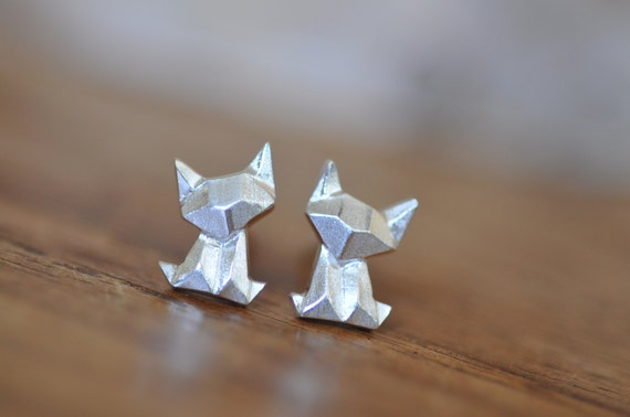 Sterling Silver Origami chat / boucles d