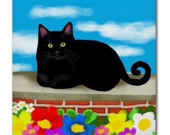 BLACK CAT CLOUDS Flowers Art Ceramic Tile Coaster optional frame