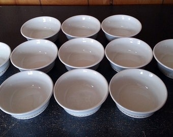 11 Shenango Gold and White Custard or Dessert Bowls - Restaurant or Diner Ware