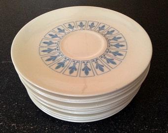 10 Homer Laughlin Blue and White Fleur De Lis Saucer Plates