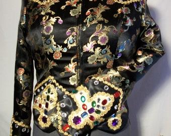Black with Gold Flower Pattern Western Pleasure Show Jacket.