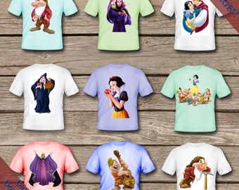 9 Snow White and the Seven Dwarves Tshirt Transfers! Digital Download! Printable Party Tshirts!