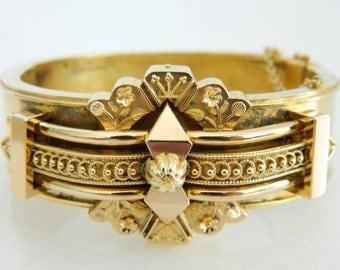 Incredible 14K Victorian Gold Ornate Floral Bracelet