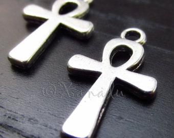 Egyptian Ankh Cross Pendant Charms - 10/20/50 Wholesale Antiqued Silver Plated Charms For Jewelry Making C6282