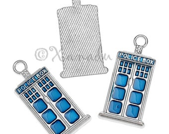 Doctor Who Tardis Charms 27mm - 2/5/10 Wholesale Blue Police Box Enamel Jewelry Pendant Findings C2009