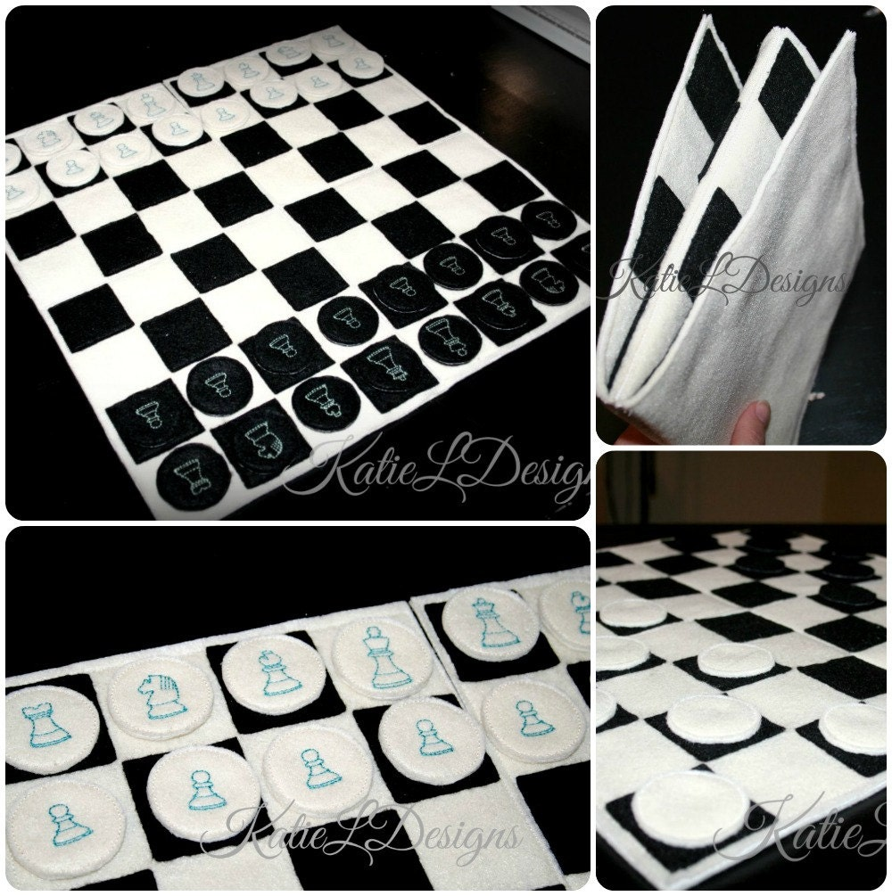 ith full size chess board with pieces machine embroidery
