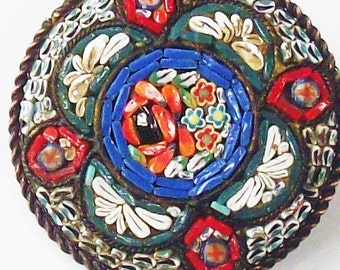 Antique Brooch / Cut Glass assembled into  floral image / Made in Italy