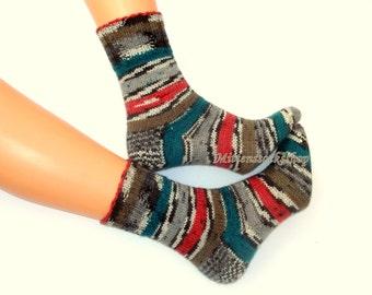 Gray Red Green Black Hand Knit Socks Women's Socks Girl's Socks Men's Socks Gray Green Red Striped Socks Winter Socks Wool Socks Warm Socks