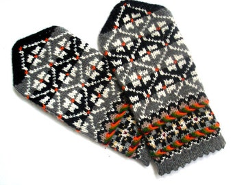 Gray Black White Hand Knitted Wool Mittens Gray Black White Gloves Wool Gloves Knitted Gloves Latvian Mittens with Pattern Winter Mittens