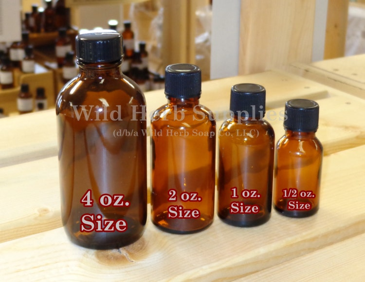 5 Amber Bottles 2 Oz Size 60 Ml Glass With By