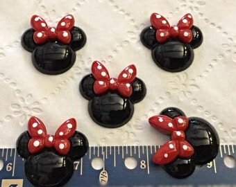 5 Mouse Ears, Resin Flatbacks