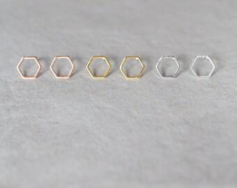 11mm Hexagon Earrings