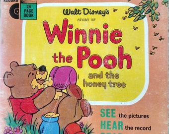 1965 Winnie the Pooh and the Honey Tree record and book set, Winnie the pooh book, record and book set, Winnie the Pooh