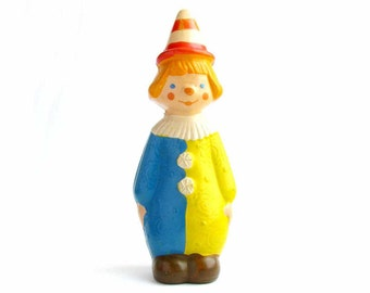Clown, Rare rubber vintage toy, Old Russian Toy, Soviet doll, Figurine, Nursery Decor, Made in USSR, 1960s