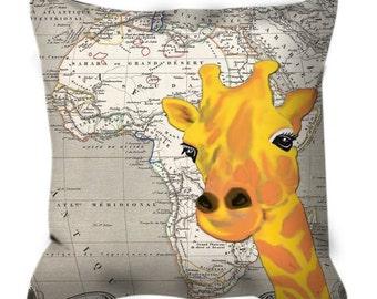 Vintage Africa Map Giraffe Wild Life Cushion Cover Pillow