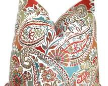 Decorative Designer Pillow- Moroccan Multi Color- Paisley Floral Geometric - jacquard Pillow Cover-Accent Pillow Cover-Choose Your Size