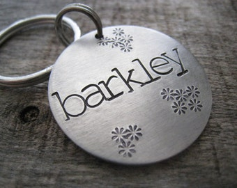Dog ID Tag - Personalized Pet/Dog Tag,  Dog Collar Tag  Engraved Dog Tag, Pet Tag, Aluminum Tag with Flowers