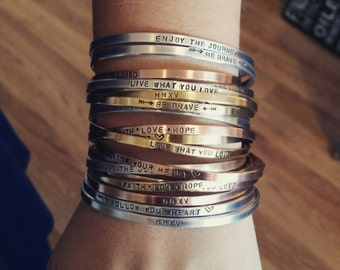 1/8th inch bangle/cuff bracelet Brass, copper or aluminum