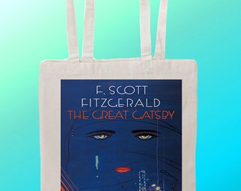The Great Gatsby book cover - Reuseable Shopping Cotton Canvas Tote Bag