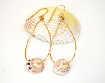 Puka Shell Earrings, Gold Teardrop Earrings, Puka Shell Teardrop Earrings, Shell Earrings, Beachy Earrings