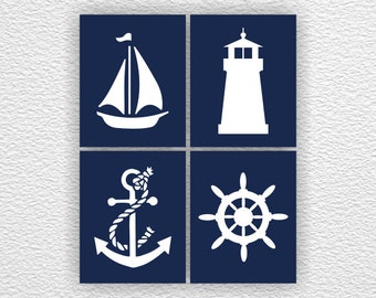Navy Blue White Nautical Silhouette Nursery, Anchor, Sailboat, Lighthouse, Wheel, Nautical Set of 4, 8x10, Nautical INSTANT DOWNLOAD