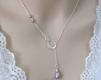 Mauve Pearl Lariat Necklace, Sterling Silver Infinity Necklace, Pearl Wedding Jewelry, Bride or Bridesmaid Necklace, Swarovski Pearl Jewelry